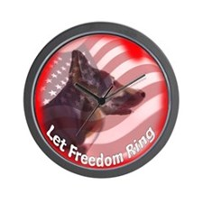 German Shepherd Let Freedom Ring Wall Clock