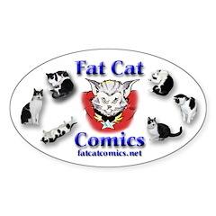 Fat Cat Comics Sticker (Oval)