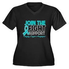 JoinTheFight-Cancer Women's Plus Size V-Neck Dark