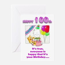 Happy Birthday 100th with cakeGreeting Card