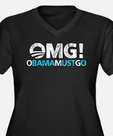 OMG! obamamustgo Women's Plus Size V-Neck Dark T-S
