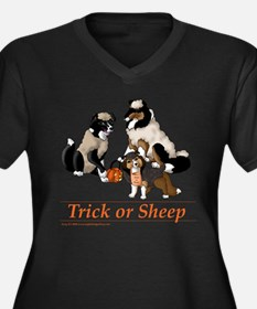 Trick or Sheep Women's Plus Size V-Neck Dark T-Shi