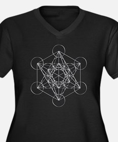 Metatrons Cu Women's Plus Size V-Neck Dark T-Shirt