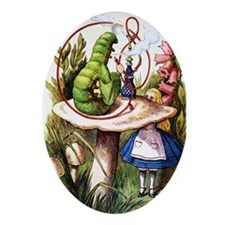 Alice and the Caterpillar Ornament (Oval)