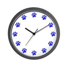 Blue Paw Print Wall Clock