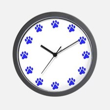 Blue Paw Print Wall Clock