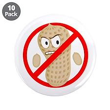 No Peanuts Food Allergy Cartoon Kids Button