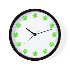 Green Paw PrintWall Clock