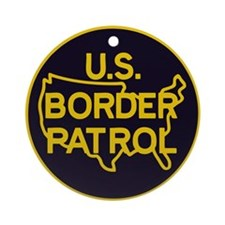 gold/black border patrol Ornament (Round)