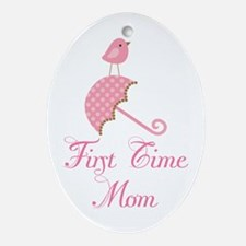 Birdie First Time Mom Ornament (Oval)