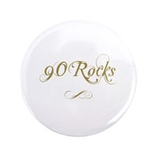 "Fancy Gold 90th Birthday 3.5"" Button"