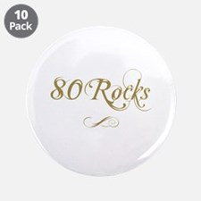 """Fancy Gold 80th Birthday 3.5"""" Button (10 pack)"""