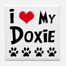I Love My Doxie Tile Coaster