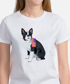 Boston terrier with Flag Tee
