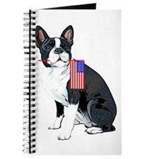 Boston terrier with Flag Journal