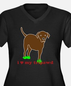 I Love My Tripawd Women's Plus Size V-Neck Dark T-