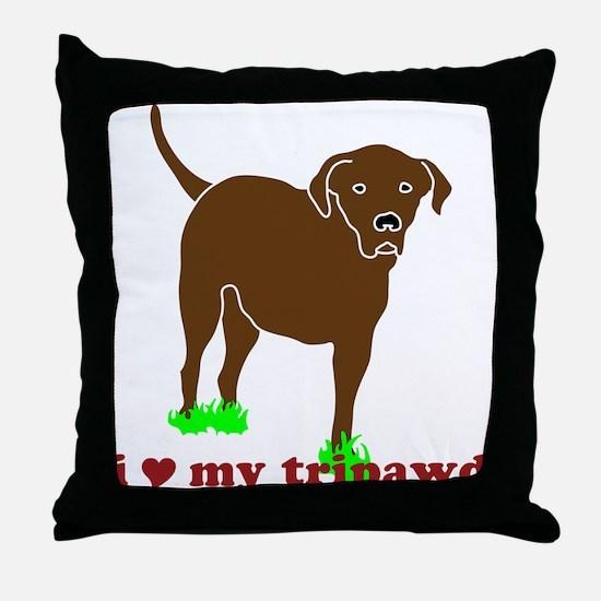 I Love My Tripawd Throw Pillow