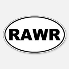 Rawr White Oval Decal