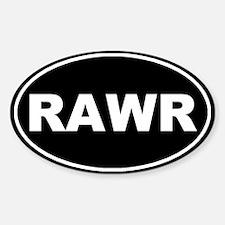 Rawr Black Oval Bumper Stickers