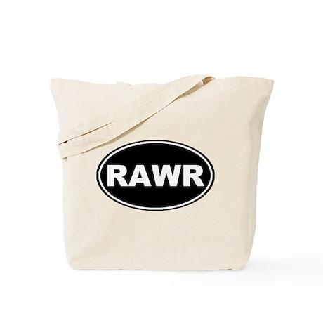 Rawr Black Oval Tote Bag
