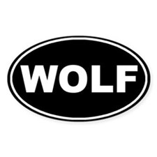 Wolf Black Oval Bumper Stickers
