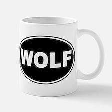 Wolf Black Oval Mug