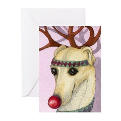 Red nosed reindog Greeting Cards