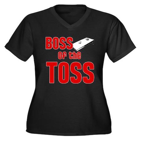 Boss of the Toss Women's Plus Size V-Neck Dark T-S