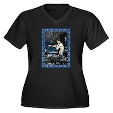 A Mermaid Women's Plus Size V-Neck Dark T-Shirt