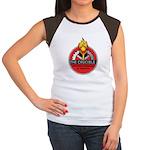 Women's Cap Sleeve T-Shirt in White/Black