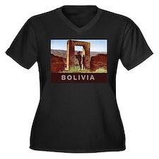 Bolivia Women's Plus Size V-Neck Dark T-Shirt