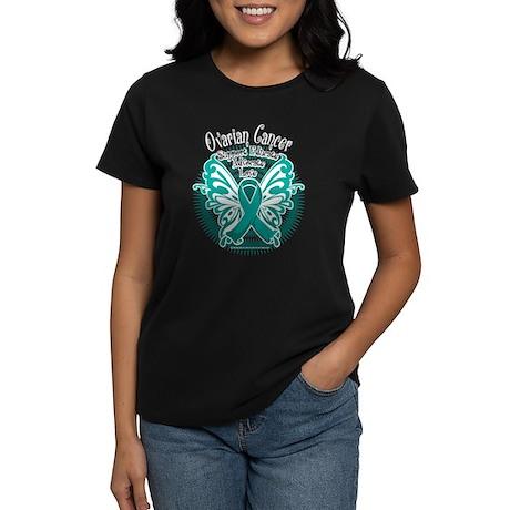 Ovarian Cancer Butterfly 2 Women's Dark T-Shirt