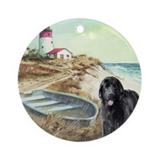 Newf and Boat Ornament (Round)