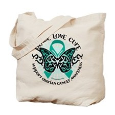 Ovarian Cancer Tribal Butterf Tote Bag