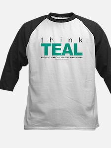 Ovarian Cancer THINK TEAL Kids Baseball Jersey