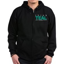 Ovarian Cancer THINK TEAL Zip Hoodie
