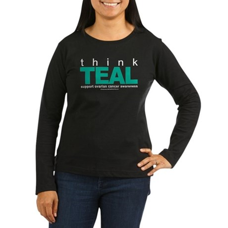 Ovarian Cancer THINK TEAL Women's Long Sleeve Dark