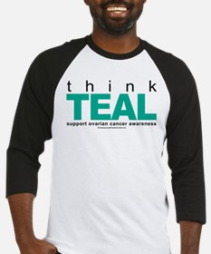 Ovarian Cancer THINK TEAL Baseball Jersey