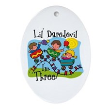 Little Daredevil 3rd Birthday Ornament (Oval)