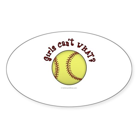Red Softball Team Sticker (Oval)