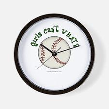 Green Baseball Team Wall Clock