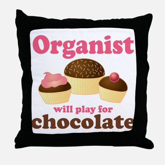 Funny Chocolate Organist Throw Pillow