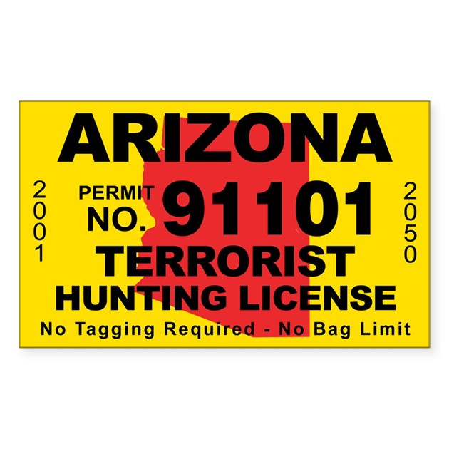 Arizona terrorist hunting license decal by cafestickers for Idaho fishing license