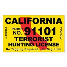 California Terrorist Hunting License Decal