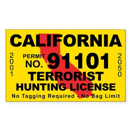 California terrorist hunting license decal by cafestickers for California 1 day fishing license