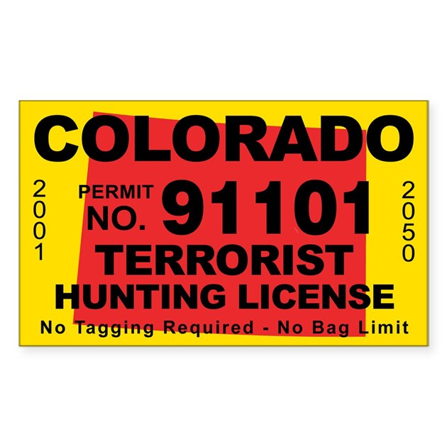 Colorado Terrorist Hunting License Decal By Cafestickers