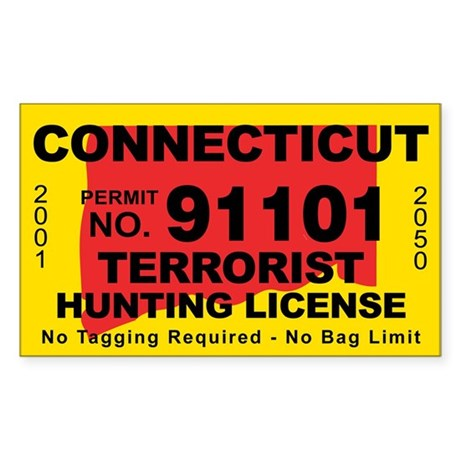 Connecticut terrorist hunting license decal by cafestickers for Ct fishing license online