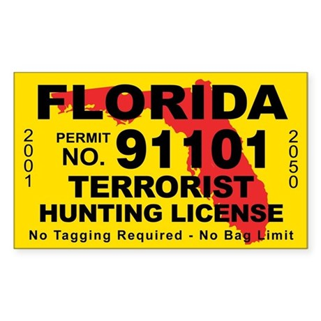 Florida terrorist hunting license decal by cafestickers for Florida state fishing license