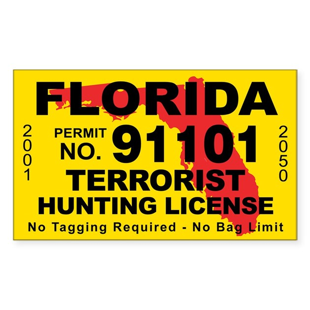 Florida terrorist hunting license decal by cafestickers for Florida 3 day fishing license