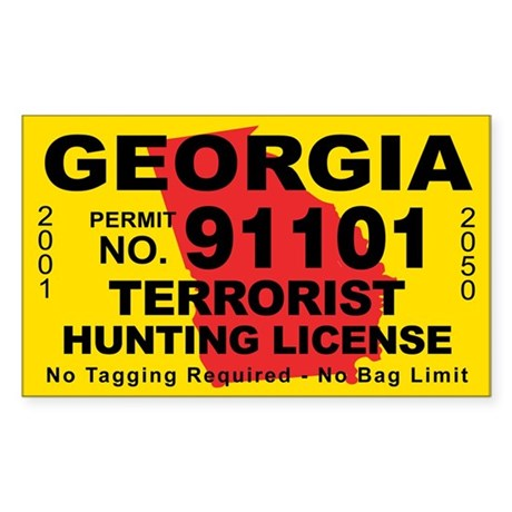 Georgia terrorist hunting license decal by cafestickers for Fishing license georgia